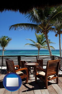 outdoor furniture on a tropical, oceanfront deck - with Colorado icon