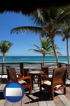 outdoor furniture on a tropical, oceanfront deck - with Kansas icon