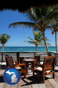outdoor furniture on a tropical, oceanfront deck - with Michigan icon
