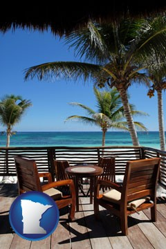 outdoor furniture on a tropical, oceanfront deck - with Minnesota icon