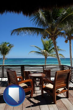 outdoor furniture on a tropical, oceanfront deck - with Nevada icon