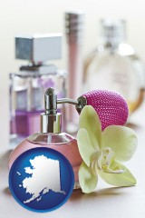 alaska a perfume bottle, with atomizer, and an orchid flower