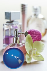 hawaii a perfume bottle, with atomizer, and an orchid flower