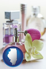 illinois a perfume bottle, with atomizer, and an orchid flower