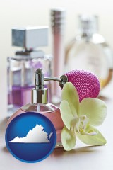virginia a perfume bottle, with atomizer, and an orchid flower
