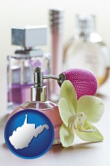 west-virginia a perfume bottle, with atomizer, and an orchid flower