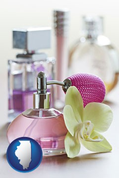 a perfume bottle, with atomizer, and an orchid flower - with Illinois icon