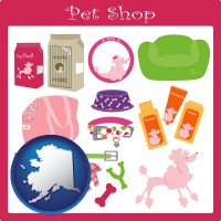 alaska map icon and pet shop products