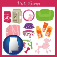 alabama map icon and pet shop products