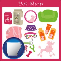 arkansas map icon and pet shop products