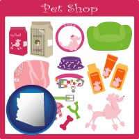 arizona map icon and pet shop products