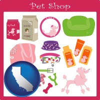 california map icon and pet shop products