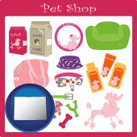 colorado map icon and pet shop products