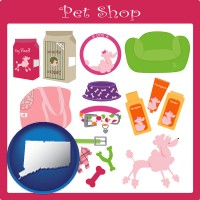 connecticut map icon and pet shop products