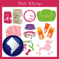 washington-dc map icon and pet shop products