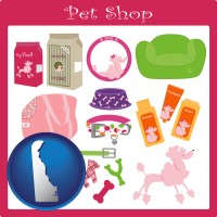 delaware map icon and pet shop products