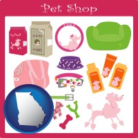 georgia map icon and pet shop products