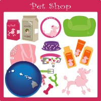 hawaii map icon and pet shop products
