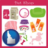 idaho map icon and pet shop products