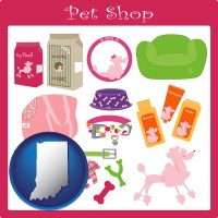 indiana map icon and pet shop products