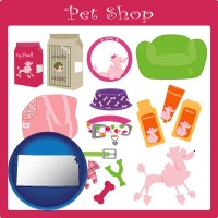 kansas map icon and pet shop products