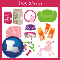 louisiana map icon and pet shop products