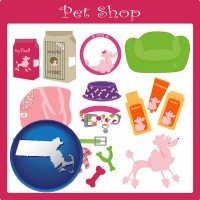 massachusetts map icon and pet shop products