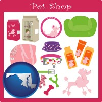maryland map icon and pet shop products