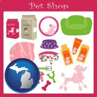 michigan map icon and pet shop products