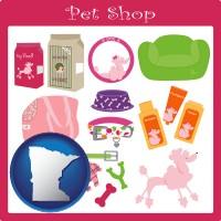 minnesota map icon and pet shop products