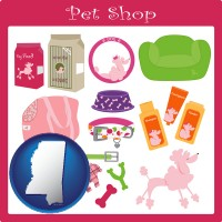 mississippi map icon and pet shop products