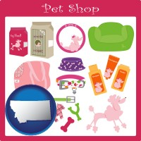 montana map icon and pet shop products