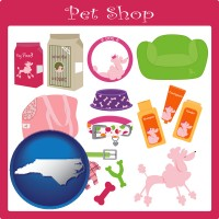 north-carolina map icon and pet shop products