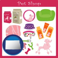 north-dakota map icon and pet shop products