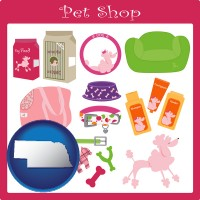 nebraska map icon and pet shop products