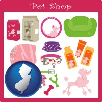 new-jersey map icon and pet shop products