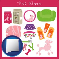 new-mexico map icon and pet shop products