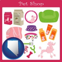 nevada map icon and pet shop products