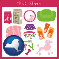 new-york map icon and pet shop products