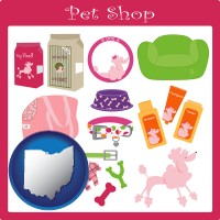 ohio map icon and pet shop products