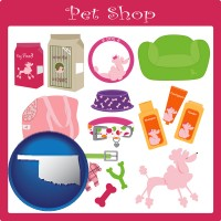 oklahoma map icon and pet shop products