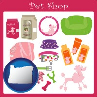 oregon map icon and pet shop products