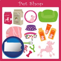 pennsylvania map icon and pet shop products