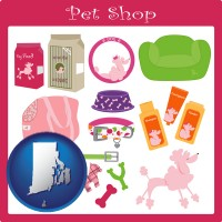 rhode-island map icon and pet shop products