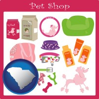 south-carolina map icon and pet shop products