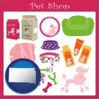 south-dakota map icon and pet shop products