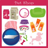tennessee map icon and pet shop products