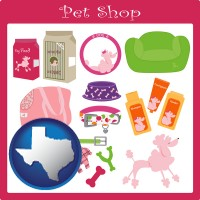 texas map icon and pet shop products