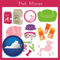 virginia map icon and pet shop products
