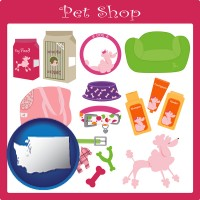 washington map icon and pet shop products